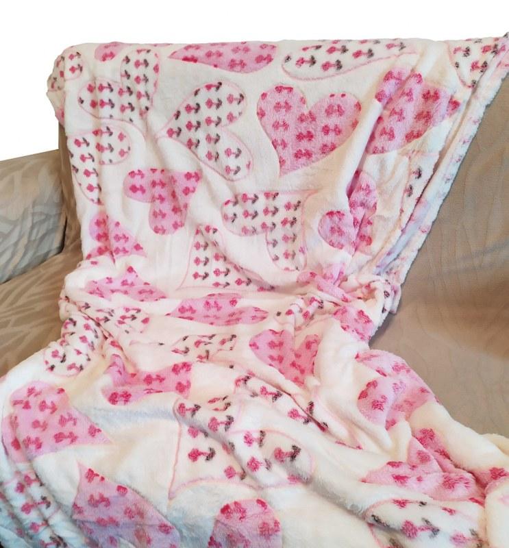 Κουβέρτα Καναπέ 100×150εκ. Ανάγλυφη Fleece Pink Heart – OEM – pink heart-k1