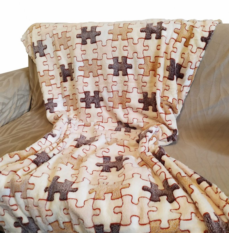 Κουβέρτα Καναπέ 100×150εκ. Ανάγλυφη Fleece Puzzle – OEM – puzzle-k1