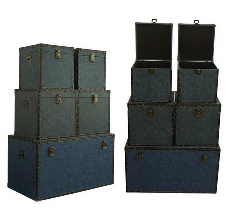 Μπαούλο Ξύλινο Σετ 3τμχ PAPSHOP YO07 (Υλικό: Ξύλο, Χρώμα: Μπλε) – PAPADIMITRIOU INTERIOR PAPSHOP – YO07