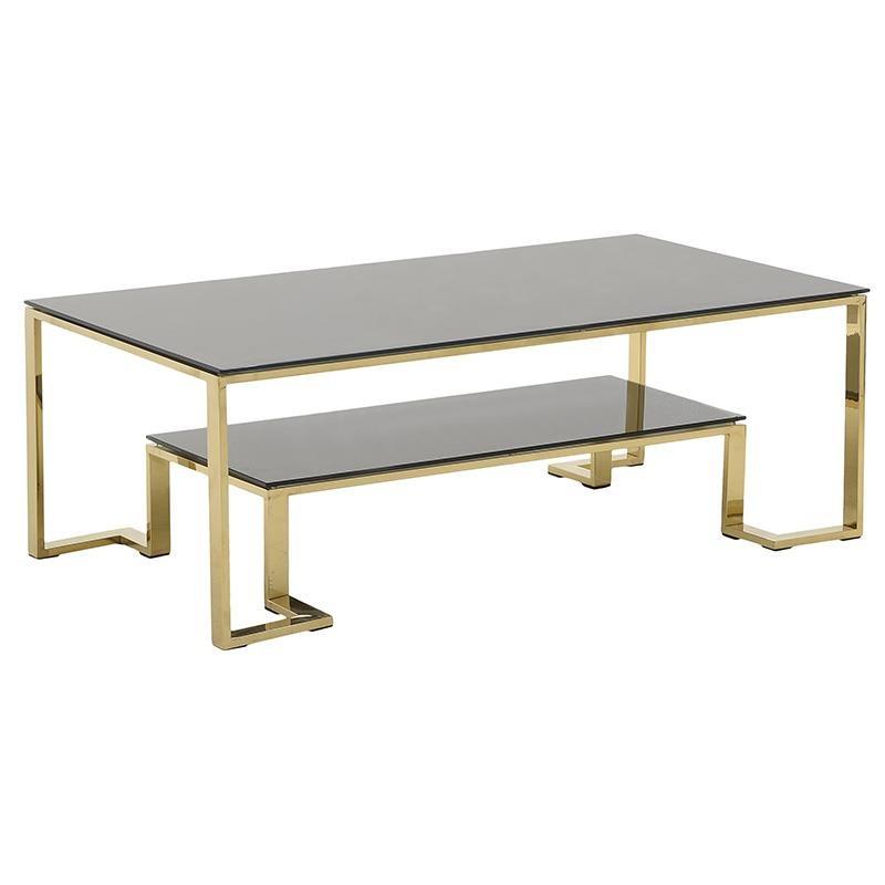 Τραπέζι Σαλονιού Μεταλλικό – Γυάλινο 130x70x45εκ. inart 3-50-529-0022 (Υλικό: Μεταλλικό, Χρώμα: Μαύρο) – inart – 3-50-529-0022