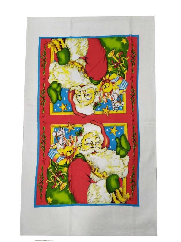 Χριστουγεννιάτικο Ποτηρόπανο Βαμβακερό 38x65εκ. Santa Claus (Ύφασμα: Βαμβάκι 100%) - KOMVOS HOME - 7011135-1