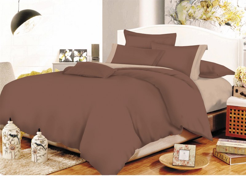 Σετ Σεντόνια Μονά 160x240εκ. Με Φάσα Brown-Beige (Ύφασμα: 50%Cotton-50%Polyester, Χρώμα: Καφέ) - KOMVOS HOME - 7000009-17