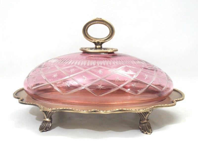 Δίσκος Σερβιρίσματος Με Καπάκι Μπρούτζινος-Γυάλινος PAPSHOP 27×18εκ. BC99 (Υλικό: Γυαλί, Χρώμα: Ροζ) – PAPADIMITRIOU INTERIOR PAPSHOP – BC99