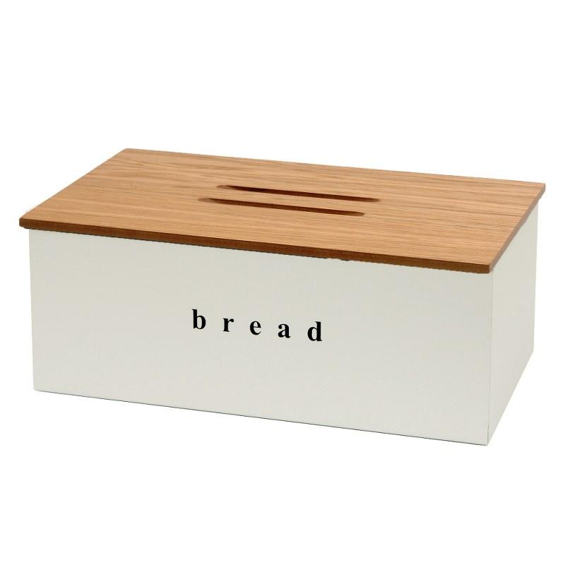 Ψωμιέρα Inox-Ξύλινη Pam & Co 40x22x18εκ. 402218-034 (Υλικό: Ξύλο, Χρώμα: Λευκό) – Pam & Co – 402218-034