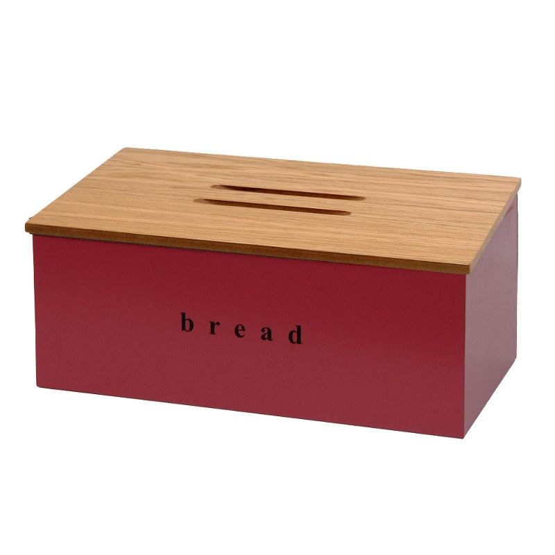 Ψωμιέρα Inox-Ξύλινη Pam & Co 40x22x18εκ. 402218-153 (Υλικό: Ξύλο, Χρώμα: Μπορντώ ) – Pam & Co – 402218-153