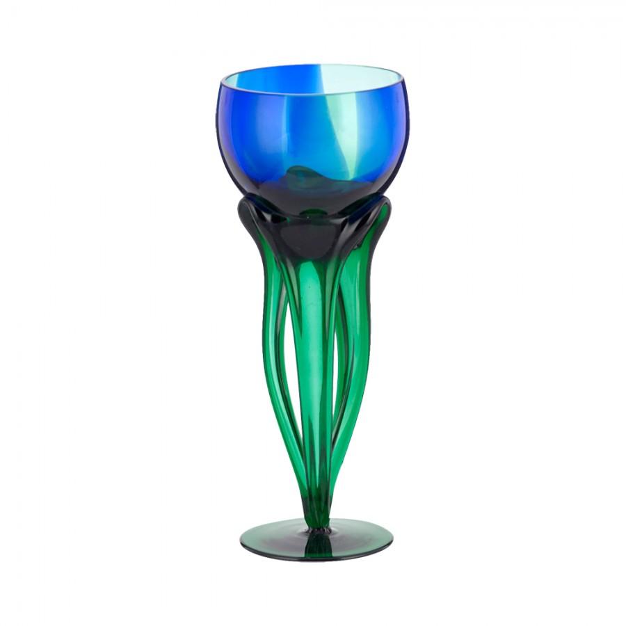 Κηροπήγιο Φυσητό Γυαλί WM Collection 10x25εκ. N92005/006/B (Υλικό: Γυαλί, Χρώμα: Μπλε) - WM COLLECTION - N92005/006/B