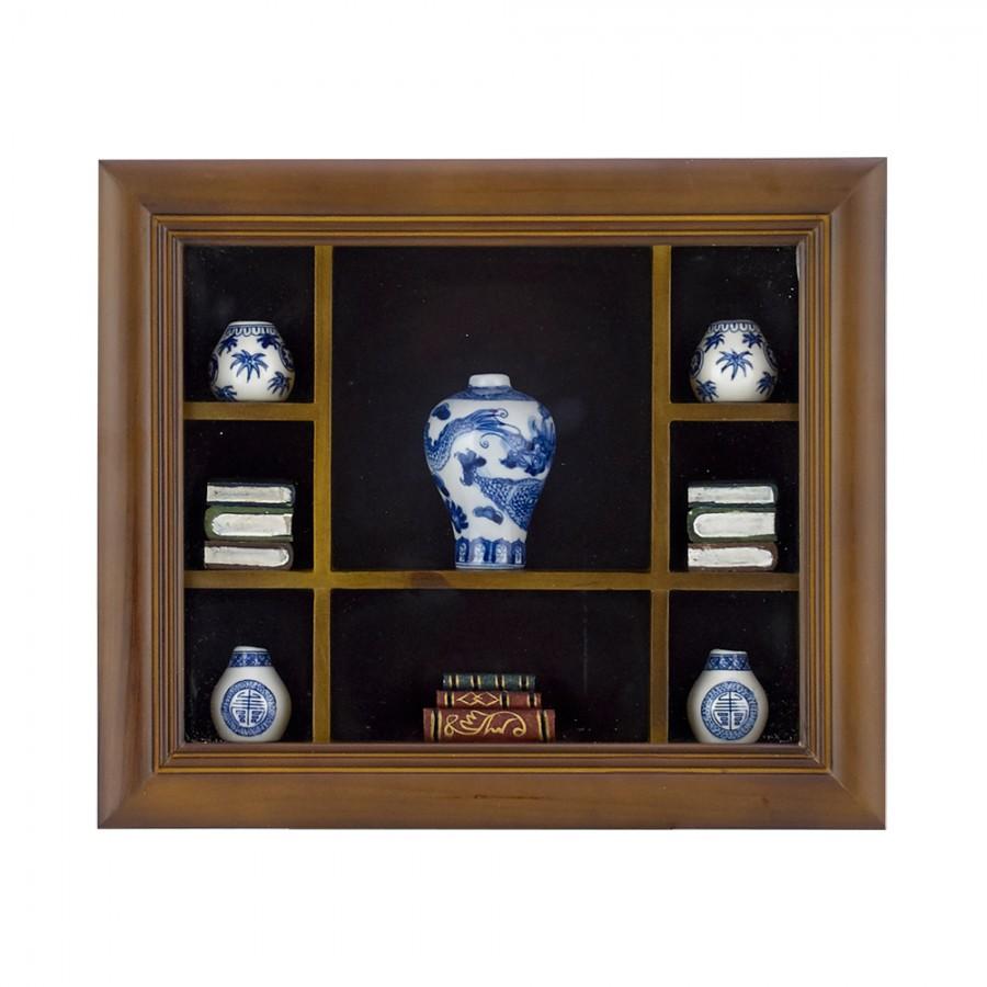 Κάδρο Ξύλινο Με Μινιατούρες Πορσελάνης WM Collection 33x6x28εκ. Ν10317 (Υλικό: Ξύλο) – WM COLLECTION – Ν10317