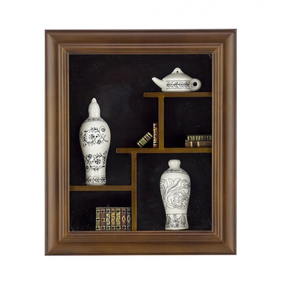 Κάδρο Ξύλινο Με Μινιατούρες Πορσελάνης WM Collection 28x5x33εκ. Ν30529 (Υλικό: Ξύλο) - WM COLLECTION - Ν30529