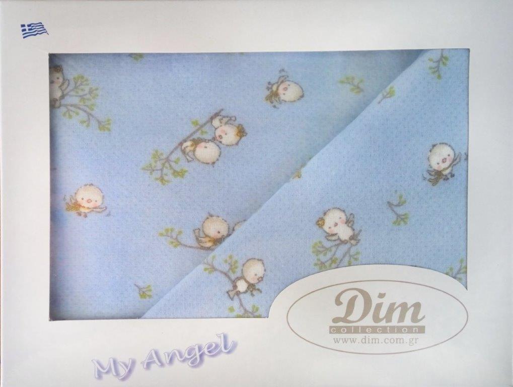 Σετ Σεντόνια Μπεμπέ 120×160εκ. Birds 14 Sky Blue Dimcol. (Ύφασμα: Φανέλα, Χρώμα: Μπλε) – DimCol – 1914657608601482