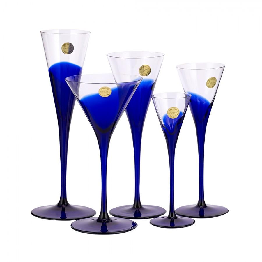 Ποτήρι Κρύσταλλο Βοημίας Σετ 6τμχ Ούζου 200ml WM Collection N2657 (Υλικό: Κρύσταλλο, Χρώμα: Μπλε) – WM COLLECTION – N2657-200ml
