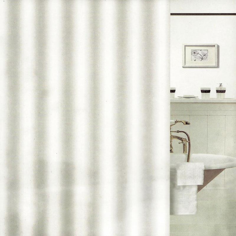 Κουρτίνα Μπάνιου Αδιάβροχη 180×180εκ. Λευκή Plain Line (Ύφασμα: Polyester) – OEM – 5201847102612