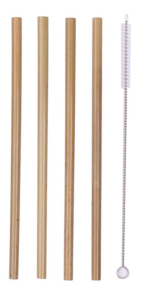 Σετ 4τμχ Καλαμάκια Bamboo Ίσια 20εκ. Με Βουρτσάκι Καθαρισμού Veltihome 31400 (Υλικό: Bamboo) - VELTIHOME - 31400