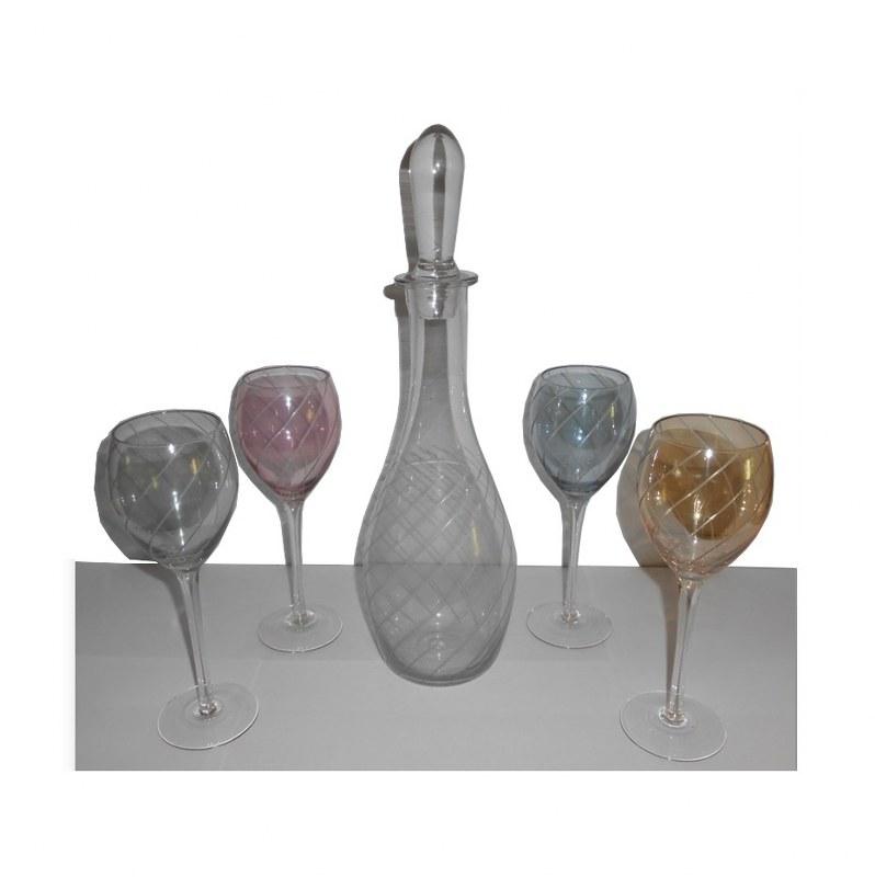 Σετ Κρασιού 5τμχ Γυάλινο PAPSHOP 30εκ. ΖΗ01 (Υλικό: Γυαλί, Χρώμα: Ροζ) - PAPADIMITRIOU INTERIOR PAPSHOP - ZH01