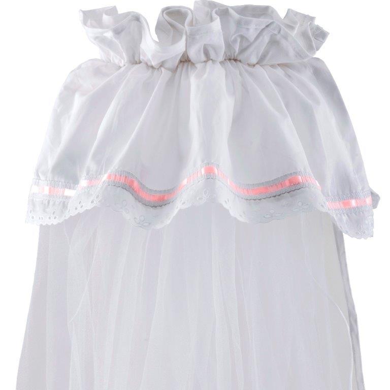 Κουνουπιέρα Λίκνου Nylon-Βαμβακερή 160×360εκ. Δαντέλα Pink (Ύφασμα: Βαμβάκι 100%, Υλικό: Nylon, Χρώμα: Λευκό) – Ο Κόσμος του Μωρού – 5205626853015