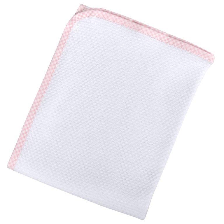 Πάνα Πικέ Βαμβακερή Bebe 80×80εκ. White-Pink (Ύφασμα: Βαμβάκι 100%, Χρώμα: Λευκό) – Ο Κόσμος του Μωρού – 5205626308416