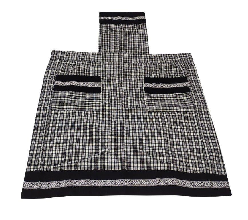 Ποδιά Ολόσωμη 60×80εκ. Υφαντή Βαμβακερή Vintage Black (Ύφασμα: Βαμβάκι 100%, Χρώμα: Λευκό) – KOMVOS HOME – 7130003-3