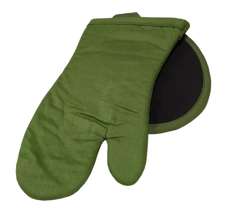 Σετ Πιάστρα-Γάντι Κουζίνας Βαμβακερό Ενισχυμένο Light Green (Ύφασμα: Βαμβάκι 100%, Χρώμα: Μαύρο) – KOMVOS HOME – 7122121-4