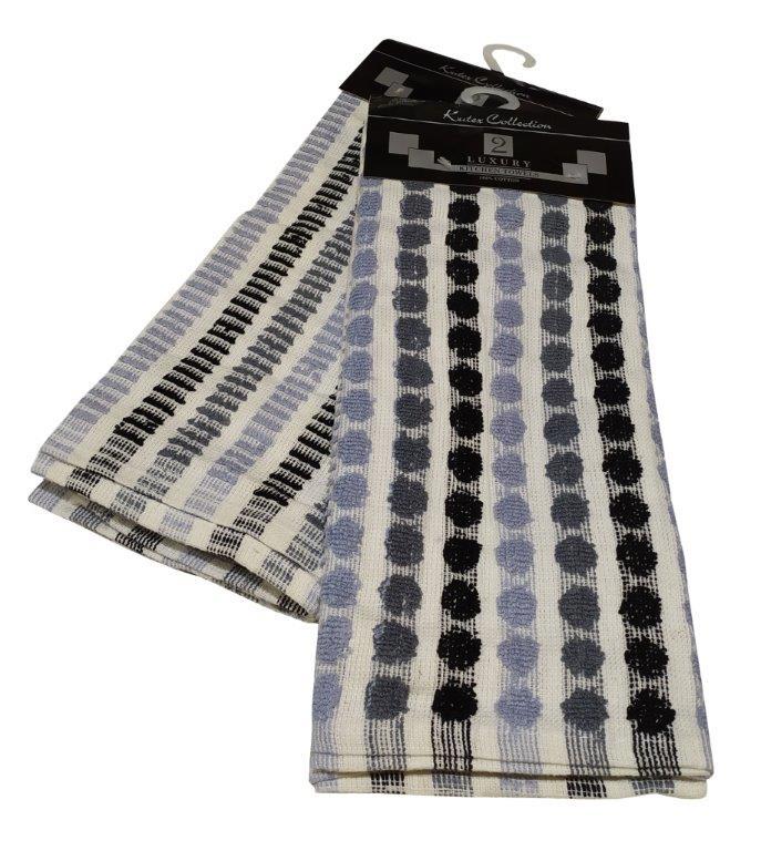Σετ Ποτηρόπανα 2τμχ Βαμβακερά 45x65εκ. Luxury Grey (Ύφασμα: Βαμβάκι 100%, Χρώμα: Μπλε) - KOMVOS HOME - 7001167-2
