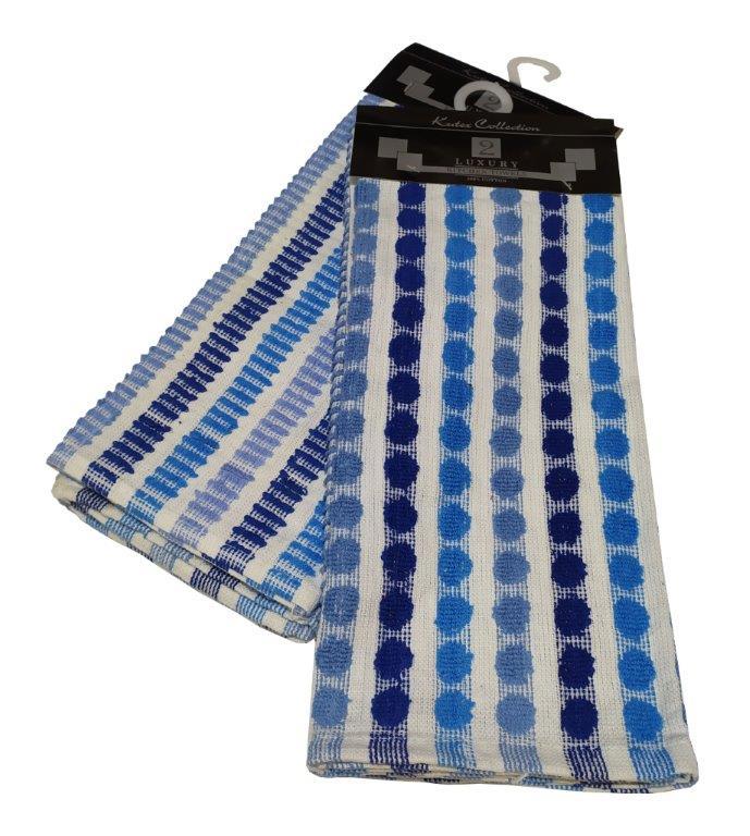 Σετ Ποτηρόπανα 2τμχ Βαμβακερά 45x65εκ. Luxury Blue (Ύφασμα: Βαμβάκι 100%, Χρώμα: Μπλε) - KOMVOS HOME - 7001167-4