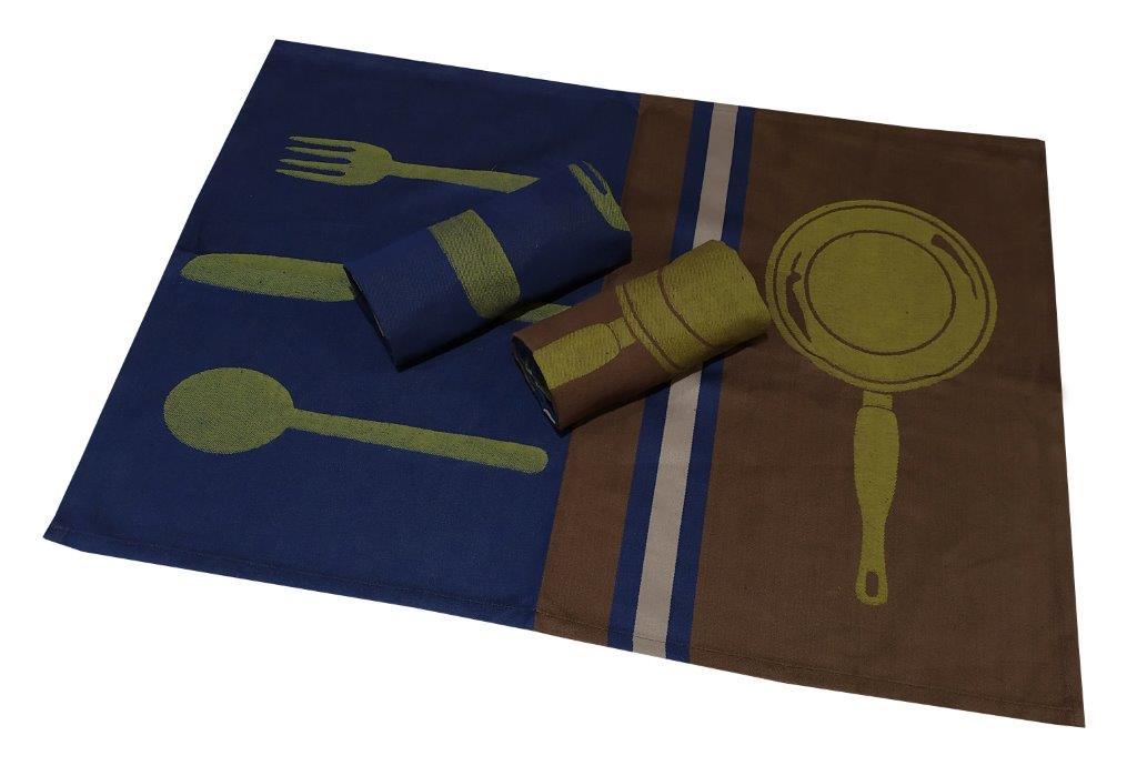 Σετ Ποτηρόπανα 3τμχ Πικέ 50×70εκ. Kitchen Cutlery Brown-Dark Blue (Ύφασμα: Βαμβάκι 100%, Χρώμα: Μπλε) – KOMVOS HOME – 7008678-1