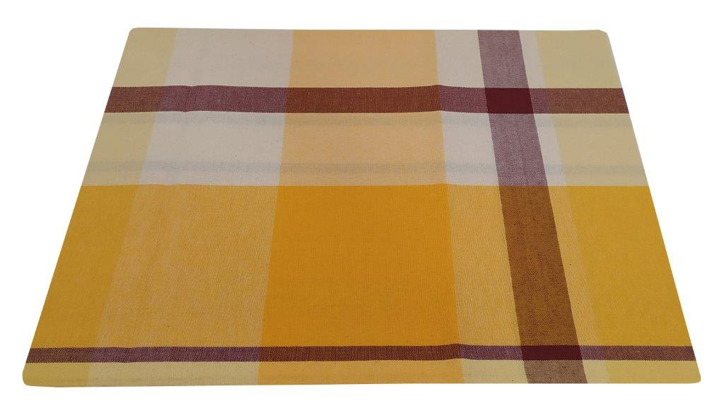 Τραπεζομάντηλο-Λονέτα Υφαντό 140×140εκ. Καρό Yellow-Sand (Ύφασμα: 50%Cotton-50%Polyester, Χρώμα: Εκρού ) – KOMVOS HOME – 7003833-8