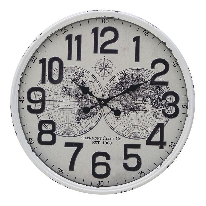 Ρολόι Τοίχου Μεταλλικό inart 60x6x60εκ. 3-20-773-0331 (Υλικό: Μεταλλικό, Χρώμα: Λευκό) - inart - 3-20-773-0331