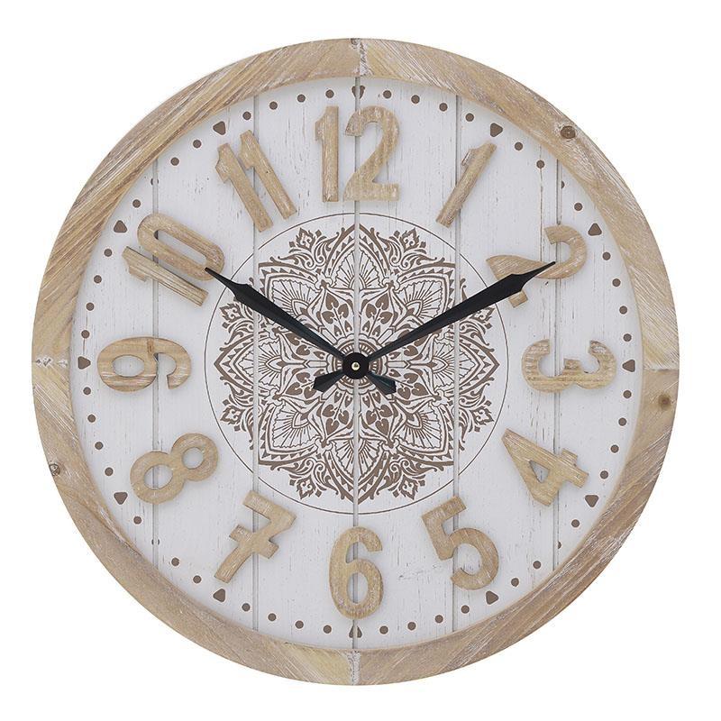 Ρολόι Τοίχου Ξύλινο inart 60x5x60εκ. 3-20-773-0332 (Υλικό: Mdf, Χρώμα: Εκρού ) – inart – 3-20-773-0332