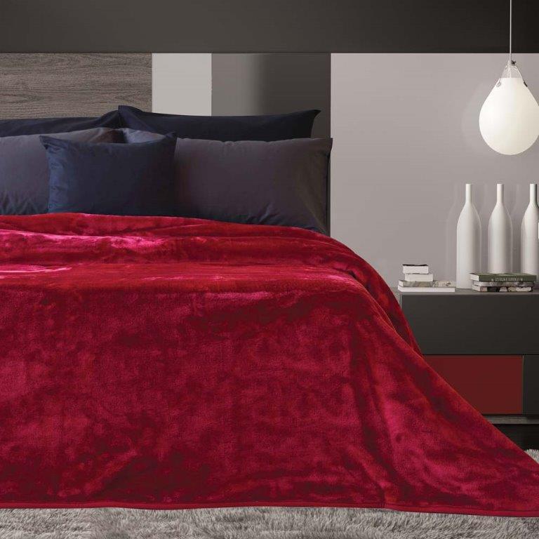 Κουβέρτα Βελουτέ Υπέρδιπλη 220x240εκ. Tyrol Cherry Sb home (Ύφασμα: Polyester, Χρώμα: Μπορντώ ) - Sb home - 5206864035706