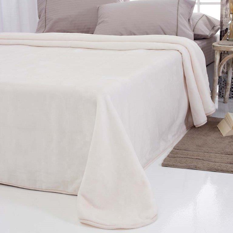 Κουβέρτα Βελουτέ Υπέρδιπλη 220x240εκ. Tyrol Ivory Sb home (Ύφασμα: Polyester, Χρώμα: Εκρού ) - Sb home - 5206864035744