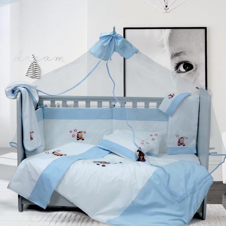 Σετ Κούνιας 6τμχ Βαμβακερά Cow Boy Blue Sb home (Ύφασμα: Βαμβάκι 100%, Χρώμα: Μπλε) – Sb home – 5206864055827
