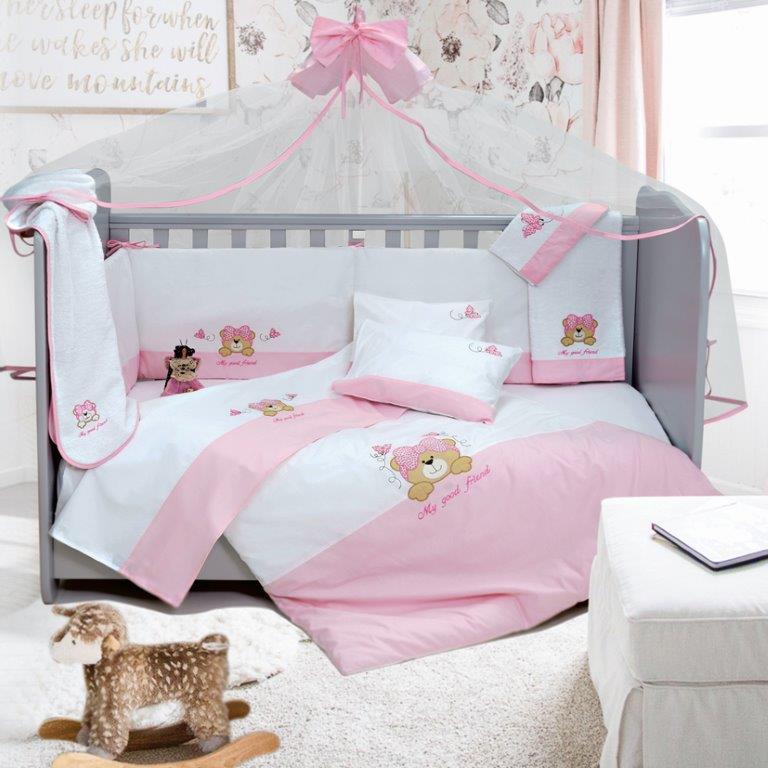 Σετ Κούνιας 6τμχ Βαμβακερά My Good Friend Pink Sb home (Ύφασμα: Βαμβάκι 100%, Χρώμα: Ροζ) – Sb home – 5206864055834
