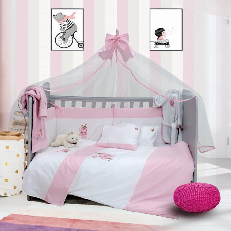 Σετ Κούνιας 6τμχ Βαμβακερά Ballerina Pink Sb home (Ύφασμα: Βαμβάκι 100%, Χρώμα: Ροζ) – Sb home – 5206864055858