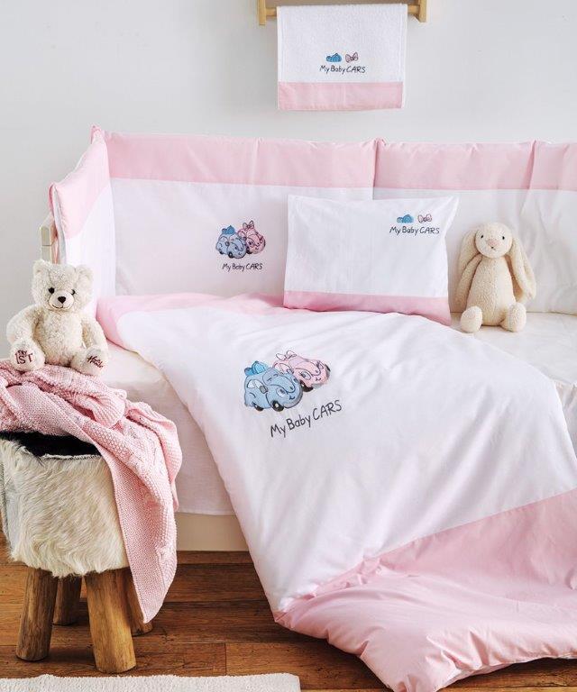 Σετ Κούνιας 3τμχ Βαμβακερά My Baby Car Pink Sb home (Ύφασμα: Βαμβάκι 100%, Χρώμα: Ροζ) – Sb home – 5206864055896