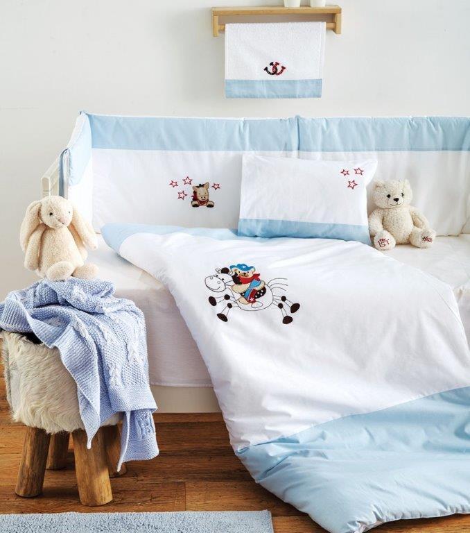 Σετ Κούνιας 3τμχ Βαμβακερά Cow Boy Blue Sb home (Ύφασμα: Βαμβάκι 100%, Χρώμα: Μπλε) – Sb home – 5206864055902