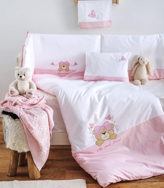Σετ Κούνιας 3τμχ Βαμβακερά My Good Friend Pink Sb home (Ύφασμα: Βαμβάκι 100%, Χρώμα: Ροζ) – Sb home – 5206864055919