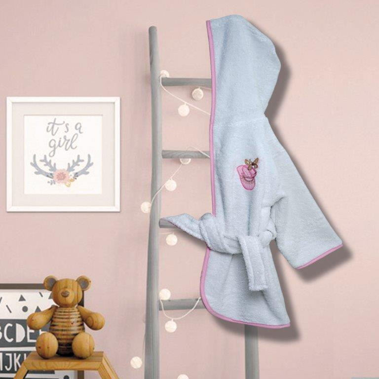 Μπουρνούζι Με Κουκούλα Βαμβακερό Bebe No 2 Ballerina Pink Sb home (Ύφασμα: Βαμβάκι 100%, Χρώμα: Λευκό) – Sb home – 5206864056091