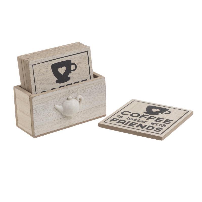 Σουβέρ Σετ 6τμχ Ξύλινα Με Βάση CLICK 10×10εκ. 6-60-151-0020 (Υλικό: Ξύλο) – CLICK – 6-60-151-0020