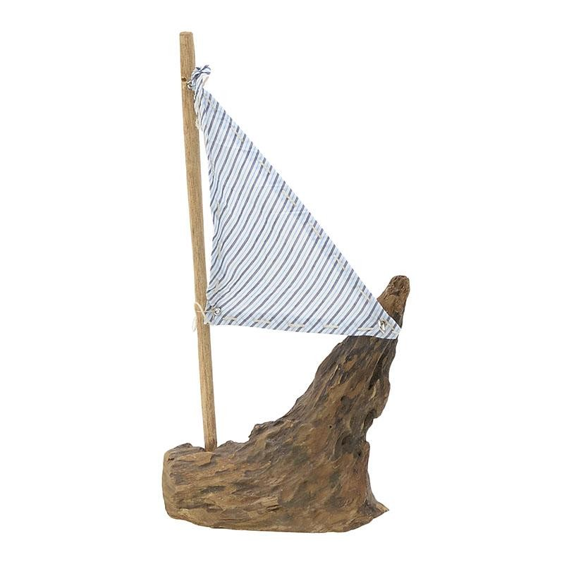 Διακοσμητικό Καράβι Ξύλινο-Υφασμάτινο inart 25x6x41εκ. 3-70-521-0015 (Υλικό: Ξύλο, Χρώμα: Λευκό) - inart - 3-70-521-0015