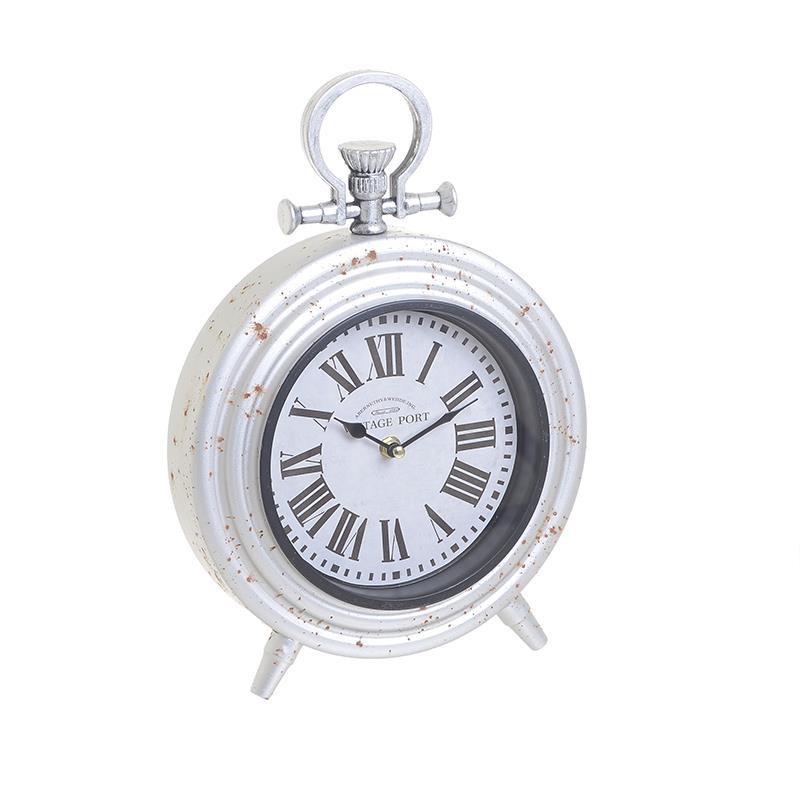 Ρολόι Επιτραπέζιο Μεταλλικό Αντικέ inart 25x8x36εκ. 3-20-977-0281 (Υλικό: Μεταλλικό, Χρώμα: Λευκό) - inart - 3-20-977-0281