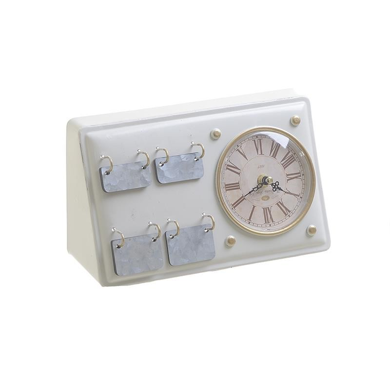 Ρολόι-Ημερολόγιο Επιτραπέζιο Μεταλλικό inart 26x10x15εκ. 3-20-977-0282 (Υλικό: Μεταλλικό, Χρώμα: Εκρού ) - inart - 3-20-977-0282
