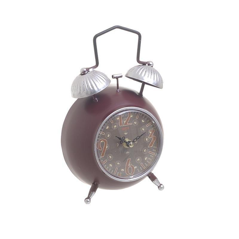 Ρολόι Επιτραπέζιο Μεταλλικό inart 16x8x25εκ. 3-20-977-0284 (Υλικό: Μεταλλικό, Χρώμα: Μπορντώ ) - inart - 3-20-977-0284