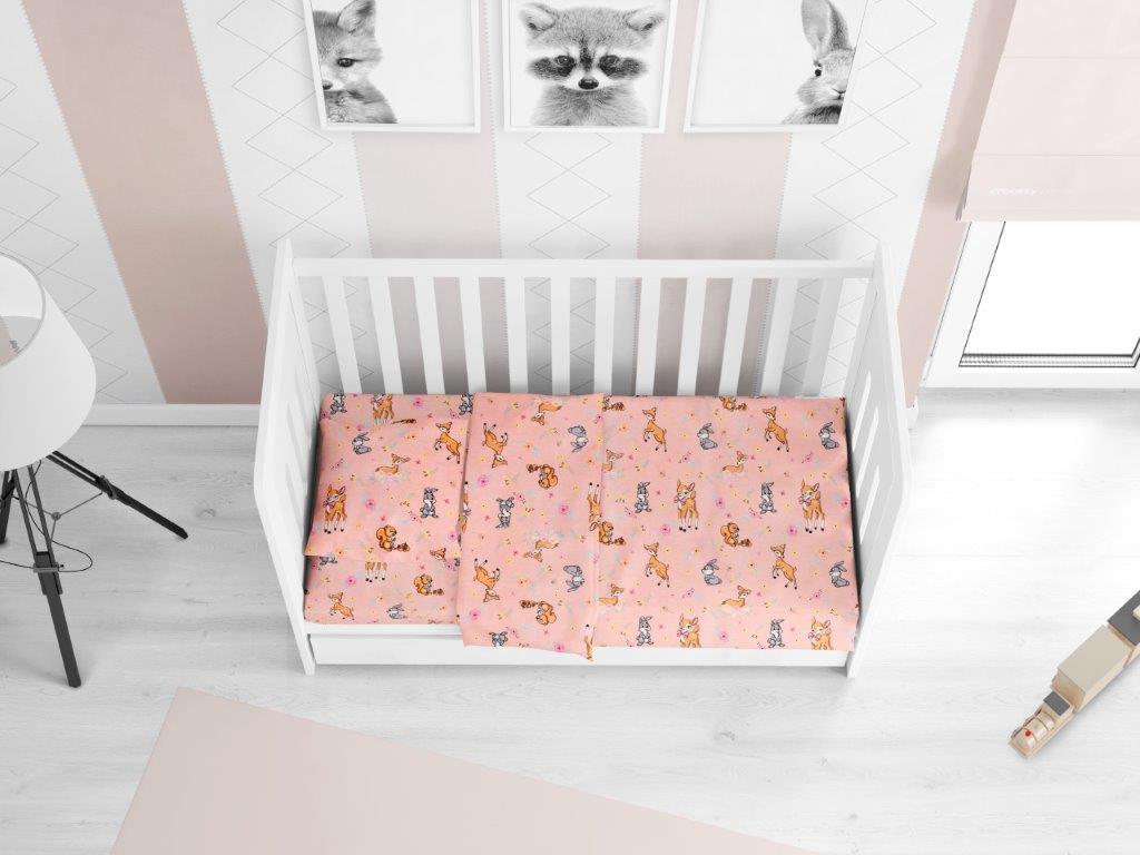 Σετ Σεντόνια Βαμβακερά Κούνιας 120×160εκ. Ελαφάκι 117 Pink Dimcol (Ύφασμα: Βαμβάκι 100%, Χρώμα: Ροζ) – DimCol – 1914617615911779