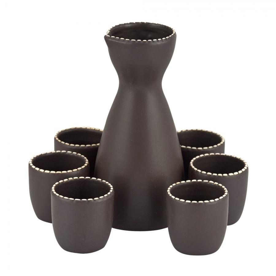 Σετ Ούζου 7τμχ Πορσελάνης WM Collection 350ml/60ml N664216/8163 (Υλικό: Πορσελάνη, Χρώμα: Καφέ) – WM COLLECTION – N664216/8163