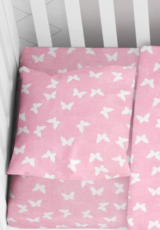Μαξιλαροθήκη Φάκελος Βαμβακερή Bebe 35×45εκ. Butterfly 50 Pink Dimcol (Ύφασμα: Βαμβάκι 100%, Χρώμα: Ροζ) – DimCol – 1915817707205079