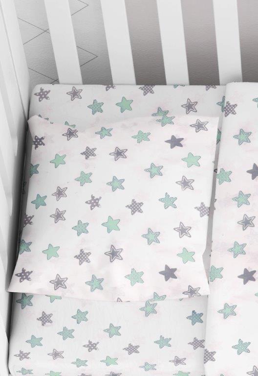 Μαξιλαροθήκη Φάκελος Βαμβακερή Bebe 35×45εκ. Star 101 Green Dimcol (Ύφασμα: Βαμβάκι 100%) – DimCol – 1915817707310181