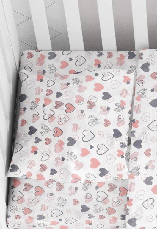 Μαξιλαροθήκη Φάκελος Βαμβακερή Bebe 35×45εκ. Hearts 09 Coral Dimcol (Ύφασμα: Βαμβάκι 100%) – DimCol – 1915817707800983