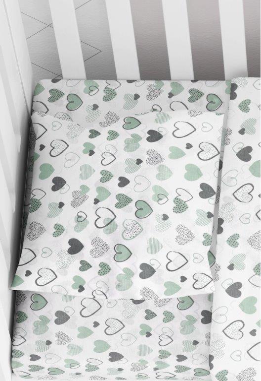 Μαξιλαροθήκη Φάκελος Βαμβακερή Bebe 35×45εκ. Hearts 10 Green Dimcol (Ύφασμα: Βαμβάκι 100%) – DimCol – 1915817707801081