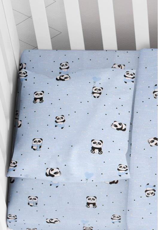 Μαξιλαροθήκη Φάκελος Βαμβακερή Bebe 35×45εκ. Panda 110 Sky Blue Dimcol (Ύφασμα: Βαμβάκι 100%, Χρώμα: Γαλάζιο ) – DimCol – 1915817715811082