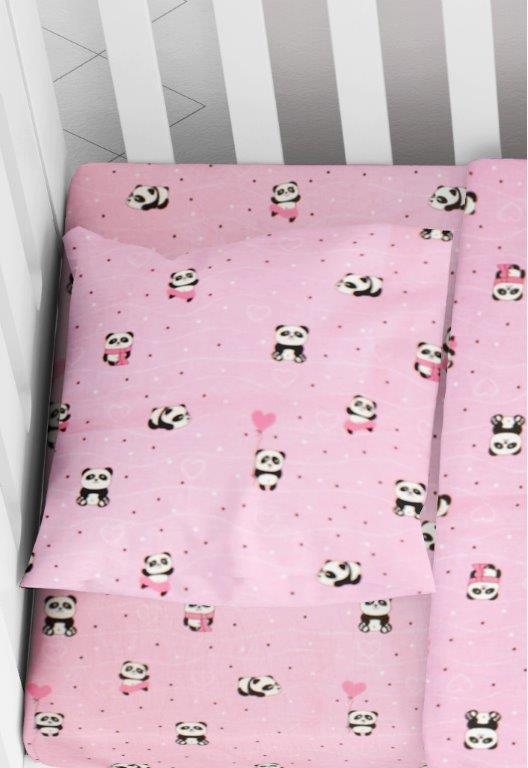 Μαξιλαροθήκη Φάκελος Βαμβακερή Bebe 35×45εκ. Panda 111 Pink Dimcol (Ύφασμα: Βαμβάκι 100%, Χρώμα: Ροζ) – DimCol – 1915817715811179
