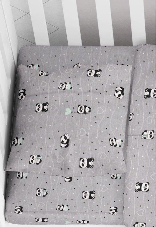 Μαξιλαροθήκη Φάκελος Βαμβακερή Bebe 35×45εκ. Panda 112 Grey-Green Dimcol (Ύφασμα: Βαμβάκι 100%, Χρώμα: Γκρι) – DimCol – 1915817715811288